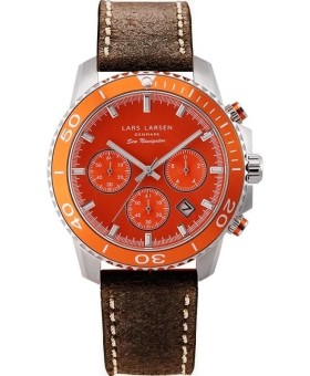 Lars Larsen 134-Orange/Dark-Brown herenhorloge